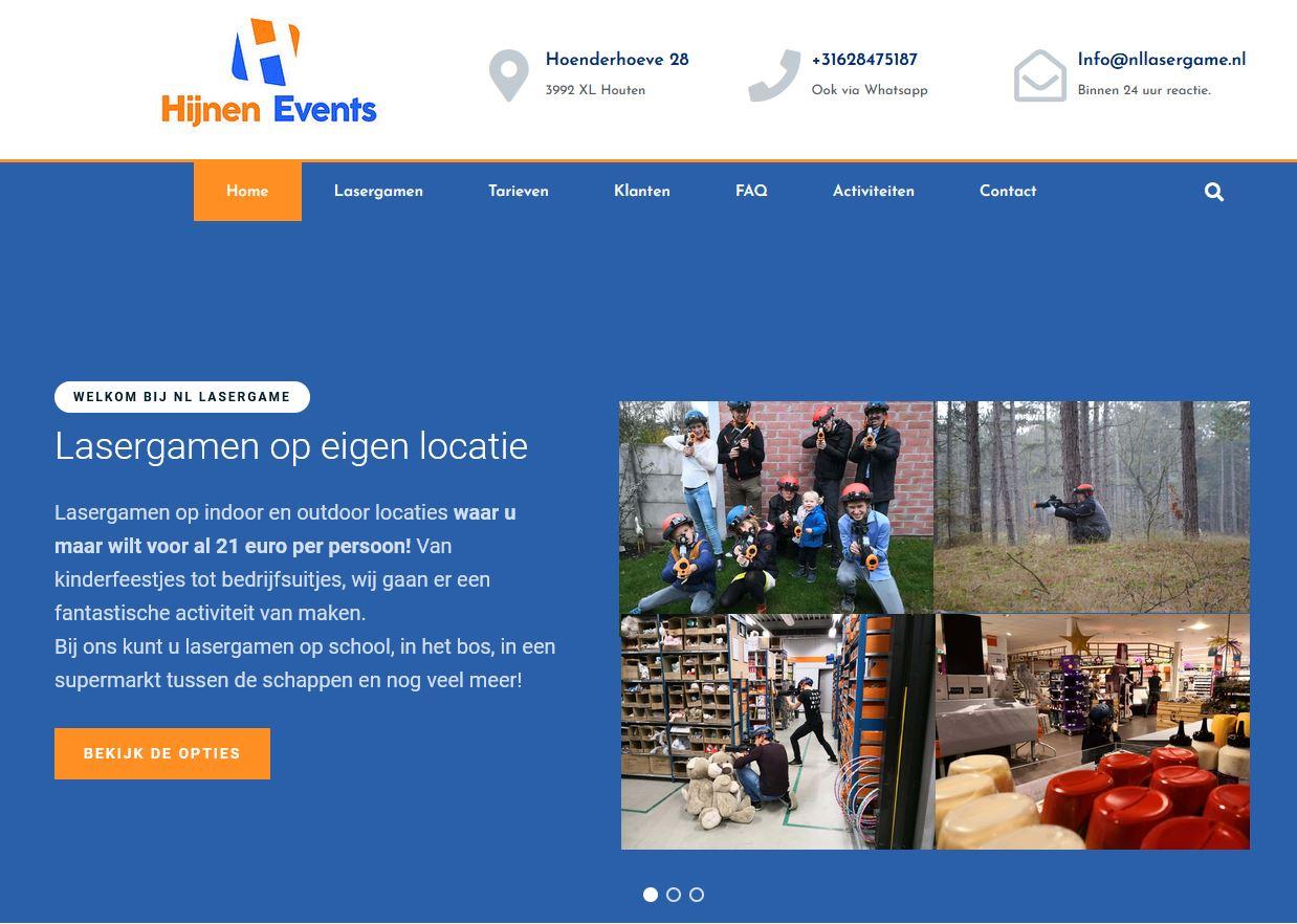 Website screenshot Nllasergame.nl